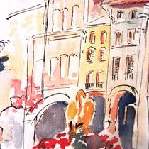 303- La fontaine du Cygne, aquarelle,30x40