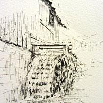 232- La roue d'eau du haut-fer, dessin à l'encre de chine ayant servi pour l'édition d'une carte postale au profit du Téléthon