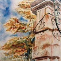120- Le pilier du Château du Chatigny, aquarelle 50X70