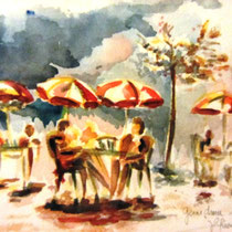 216- Les parasols , la terrasse du Lido, lac de Gérardmer.