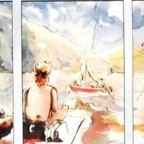 668- Sur la plage du Lido,47 x 76, encadré  , Arches lisse 250gr