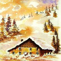 366- La même ferme, aquarelle bénévole 24x30 pour une carte de voeux