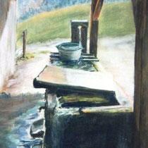 325- Fontaine de ferme, pastel 50x70
