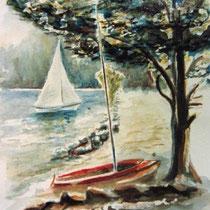725- Le lac de Gérardmer, aquarelle 50 x 70