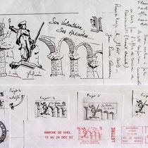 295- Étapes de l'élaboration du dessin pour la flamme postale de l'Office de Tourisme de Remiremont