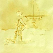 * 690- Dessin lavis réalisé autour du lac de Gérardmer en situation, à la teinture merisier ,sur papier Lana 140 gr