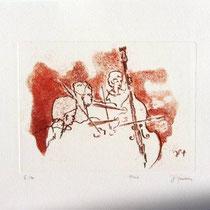 Gravure,estampe musique : *1003- Trio, Contrebasse, violons
