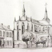 *1116- Dessin réalisé en direct devant la mairie de Remiremont, en 1988...Il y avait des tilleuls !