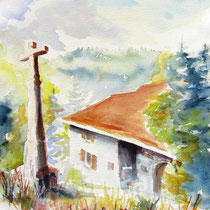 * 240- Ferme à Lièzey, aquarelle 50x70