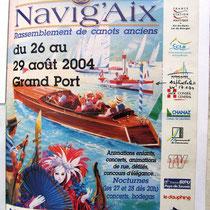 L'affiche de la fête de Navig'Aix 2004 sur le lac du Bourget dans le Port d'Aix-les-Bains