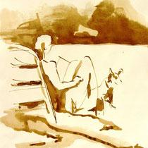 * 277- Lavis teinte merisier, la vie autour du lac de Gérardmer, 21x30