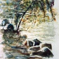 727- Le lac de Gérardmer, aquarelle 50 x 70