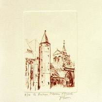 * 1078-  Gravure,estampe :   La Basilique St-Maurice d'Epinal
