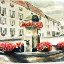 305- La fontaine des Éléphants ,l'Accueil, pastel 50x70