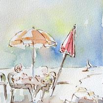 * 673- La plage ,15 x 30 , Arches 350gr