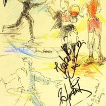 * 468- L'équipe de France de patinage artistique, dessinée en direct à la patinoire d'Epinal lors d'une soirée de gala, 20 x 30