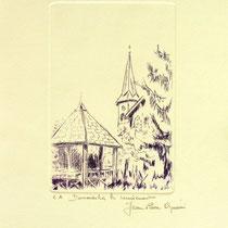 386-  Le village de Dommartin-lès-Remiremont,vélin d'Arches, 20x30