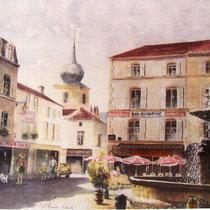 300- La place de la Courtine à Remiremont, vue sur La Carterelle et le clocher, aquarelle 50 x 70