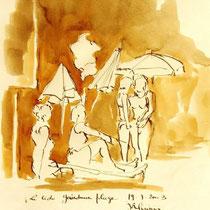 * 704- Dessin lavis réalisé autour du lac de Gérardmer en situation, à la teinture merisier ,sur papier Lana 140 gr