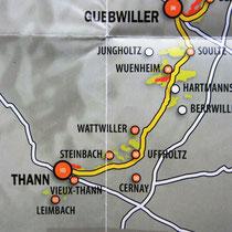Départ de la route des vins, Porte Sud, à Thann.