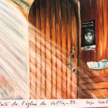 229- L'église du Valtin, pastel 50X70