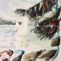 191- Le lac  aquarelle 50 X 70  ,  peint en direct