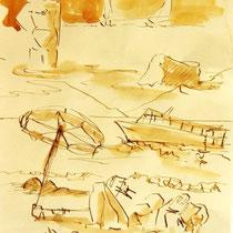 * 703- Dessin lavis réalisé autour du lac de Gérardmer en situation, à la teinture merisier ,sur papier Lana 140 gr