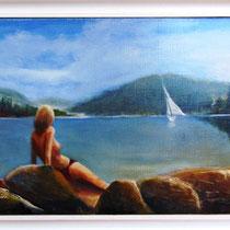 * 206a- Le lac de Gérardmer, Lido plage, Huile 35 X 23 encadré