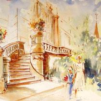 * 340-  Le Château des Brasseurs à Xertigny, aquarelle réalisée sur place 85 x 33 :1er prix d'un concours.