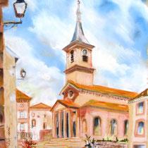 * 351- Bruyères, lors d'un concours de peinture dans la rue,  pastel  40x50