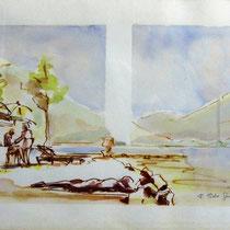 * 204-  Sur la plage au Lido à Gérardmer, aquarelle 25 X 50 encadré