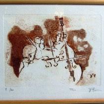 * 991-Gravure,estampe musique :  Trio, Contrebasse, violons