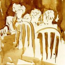 * 713- Dessin lavis réalisé autour du lac de Gérardmer en situation, à la teinture merisier ,sur papier Lana 140 gr