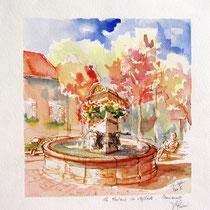 *307-  La fontaine des Éléphants, aquarelle 40x40 encadré