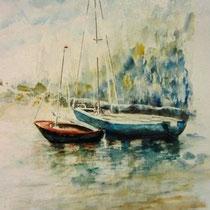 724- Le lac de Gérardmer, aquarelle 50 x 70