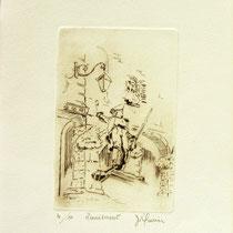 *290- Estampe réalisée à partir d'un dessin original destiné à l'Office de Tourisme de Remiremont  20x30 sur vélin d'Arches