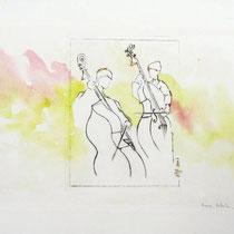* 448- Musiciens en répétition, orchestre à cordes d'Epinal, gravure aquarellée, 85x33