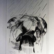 *343-  Les parapluies, encre de Chine, 50x70