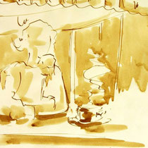 * 714- Dessin lavis réalisé autour du lac de Gérardmer en situation, à la teinture merisier ,sur papier Lana 140 gr