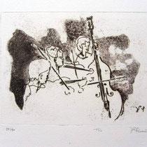 *1008-Gravure,estampe musique :  Trio, Contrebasse, violons