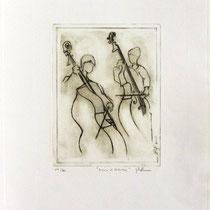 * 989- Annie et Valentin, nos deux contrebassistes, Vélin d'Arches  30 x 40