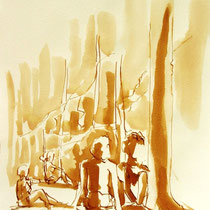 *259- Lavis teinte merisier, la vie autour du lac de Gérardmer, 21x30