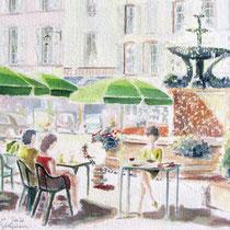 * 301-  La fontaine des Dauphins, place de la Courtine  Remiremont ,aquarelle 50 x 70