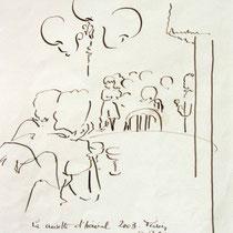 *1121-  Dessin de danseurs à La Croisette d'Hérival de Remiremont, à la plume;