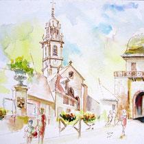 * 453- Langres,peint sur place lors d'un concours de la ville de Langres, 85 x 33