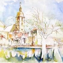 *134 Port-sur Saône Haute Saône.  Aquarelle 85 X 33 réalisée un jour de fête des Associations