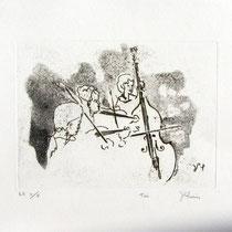 Gravure,estampe musique : * 999- Trio, Contrebasse, violons