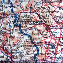 """""""La ligne bleue des Vosges"""", trait de crayon bleu allemand sur une carte d'Etat-Major en 1914..."""