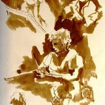 * 477- Lors d'une exposition de peinture à Thann, animation d'artistes et d'artisans,