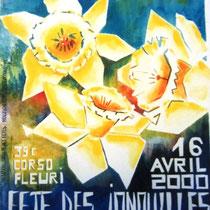 """* 180- Affiche """"Fête des Jonquilles"""" de l'an 2000, acrylique 50X70, réalisée pour participer au concours organisé par l'OT de Gérardmer."""